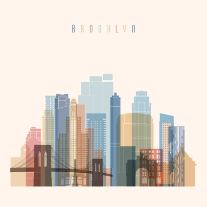 Brooklyn, New York  skyline detailed silhouette. Transparent style. Trendy vector illustration.