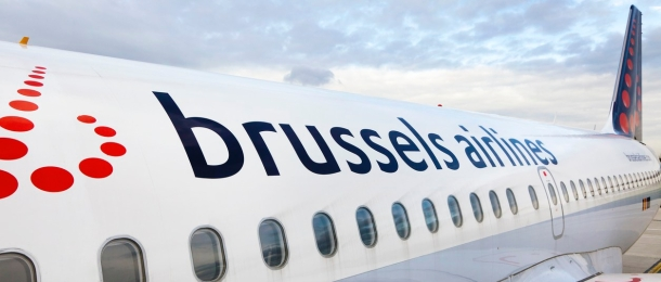 Airplane of Brussels airlines company is ready to takeoff