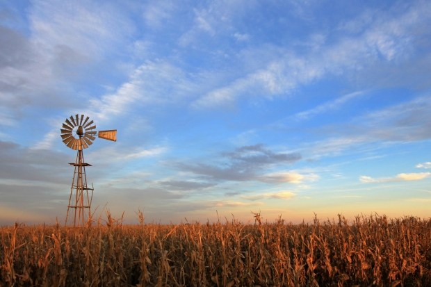 Texas style westernmill windmill at sunset, Argentina